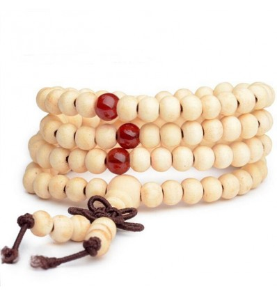 Bracelet Tibetan Mala beads wood + node without end. Colour beige
