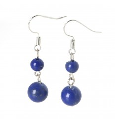 Pair of earrings 2 balls of Lapis Lazuli