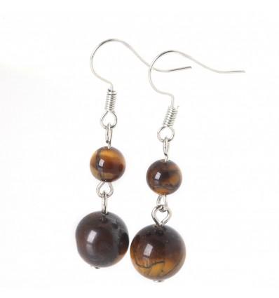 Pair of earrings 2 balls Tiger Eye