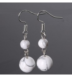 Pair of earrings 2 balls in Howlite