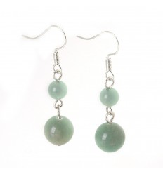 Pair of earrings 2 balls of Green Aventurine