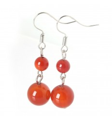 Pair of earrings 2 balls of Red Agate