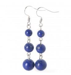 Boucles d'oreilles pendantes 3 boules en Lapis Lazuli - Livraison offerte !!!
