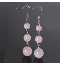 Earrings hanging 3 balls in Rose Quartz
