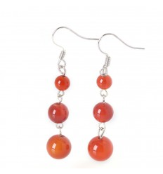 Earrings hanging 3 balls of Red Agate