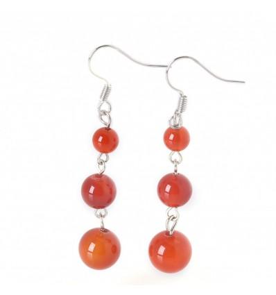 Boucles d'oreilles pendantes 3 boules en Agate Rouge - Livraison gratuite !!!