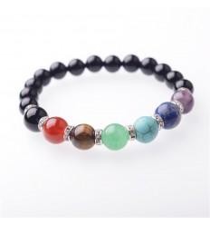 Bracelet 7 chakras in Onyx