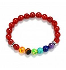 Bracelet 7 chakras en Onyx rouge