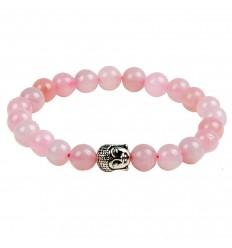 Bracelet en Quartz rose + perle Bouddha. Livraison gratuite.