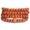 Bracelet Tibétain, Mala en perles de bois orange.