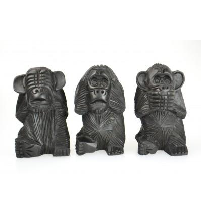 Les 3 singes de la sagesse XL. Statues en bois massif noir H20cm