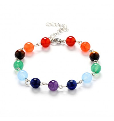 Bracelet 7 chakras, silver-plated metal and stones .