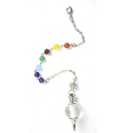 Pendulum séphoroton rock crystal and 7 chakras. Dowsing.