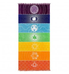Mat meditation Sarong wall Hanging beach towel 150x70cm 7 CHAKRAS