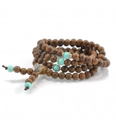 Bracelet Tibetan Mala beads-wood and + knot without end. The delivery is free !