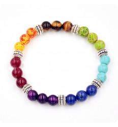 Bracelet 7 chakras, pierres fines et métal argenté.