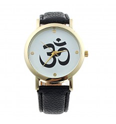 """Montre fantaisie """"Aum"""" - bracelet similicuir noir. Livraison gratuite !"""