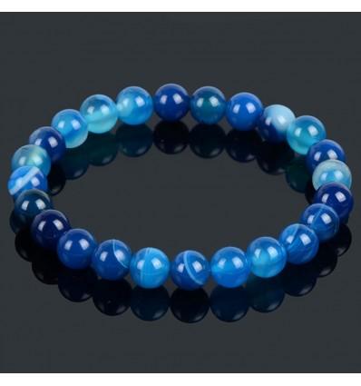Bracelet en agate bleue porte chance, bonheur, paix intérieure.