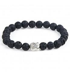 Bracelet en pierre de lave naturelle + perle Bouddha. Livraison gratuite.