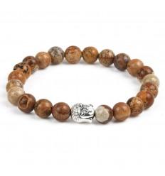 Bracelet en Jaspe bois + perle Bouddha. Livraison gratuite.