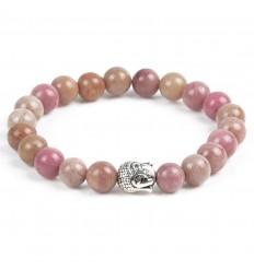 Bracelet en Rhodonite + perle Bouddha. Livraison gratuite.