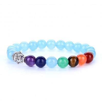 Bracelet 7 chakras aquamarine and 7-precious stones.