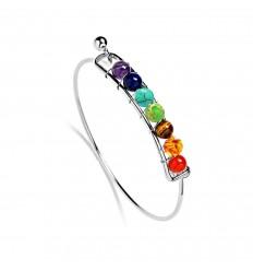 Bracelet jonc 7 chakras, métal argenté et 7 pierres fines.