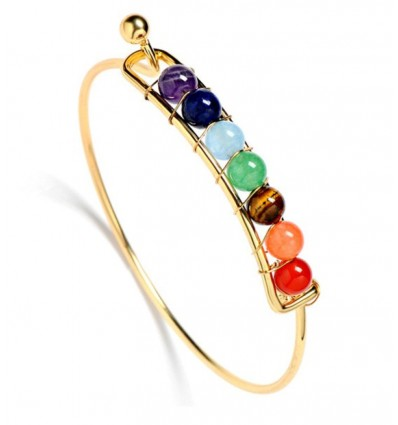 Bracelet 7 chakras, golden metal and 7-precious stones.