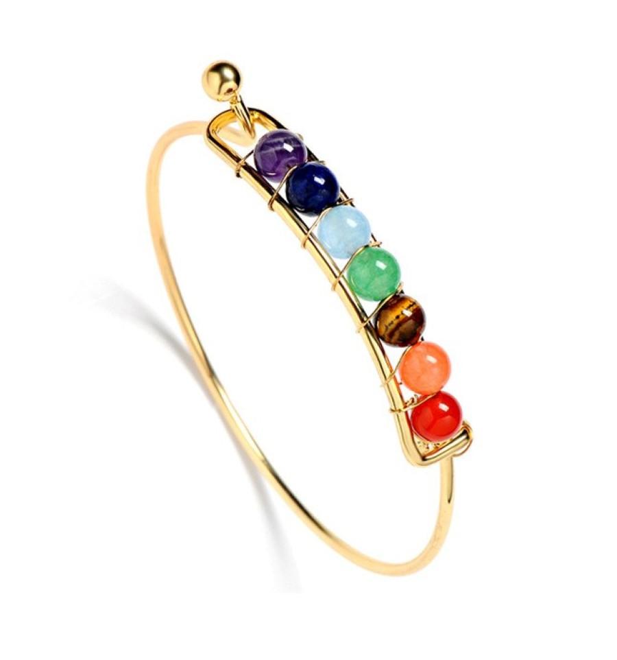 bracelet jonc 7 chakras pierres semi pr cieuses m tal dor l ger. Black Bedroom Furniture Sets. Home Design Ideas