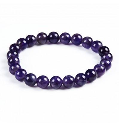 Bracelet Amethyst natural + pearl Buddha. Free shipping.