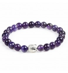 Bracelet Amethyst natural + pearl Buddha. Free shipping.