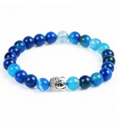 Bracelet en Agate bleue + perle Bouddha. Livraison gratuite.