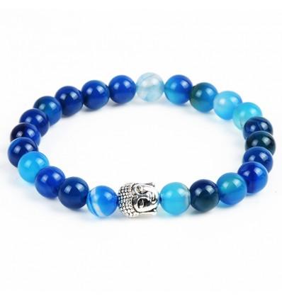 Bracciale in Agata blu + perla di Buddha. Spedizione gratuita.