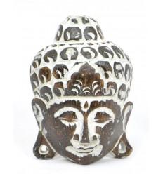 Piccola maschera testa di Buddha in legno, decorazioni da parete asiatici originale.
