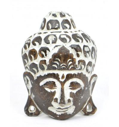 Petit masque tête Bouddha en bois, déco murale asiatique originale.