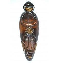 Masque motif cobra en bois 30cm - décoration ethnique chic style africain.