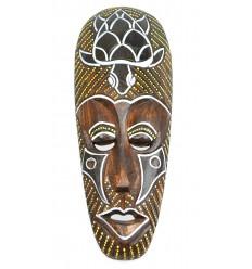Masque africain en bois motif Tortue. Déco africaine pas chère.
