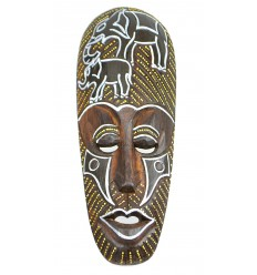 African mask in wood 30cm ground Elephants.