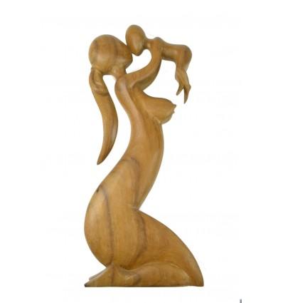 """Grande Statue """"Maternité"""" h50cm en bois brut. La mère et l'enfant"""