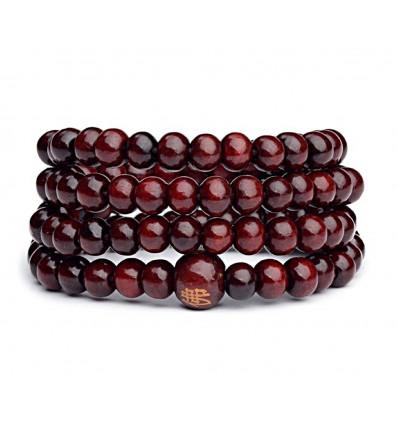Bracelet Tibetan Mala beads wood bordeaux.