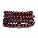 Bracelet Tibétain, Mala en perles de bois bordeaux.