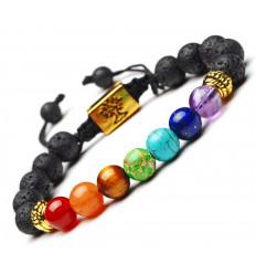 Bracelet 7 chakras et pierre de lave - Symbole Arbre de vie doré. Livraison offerte !!!