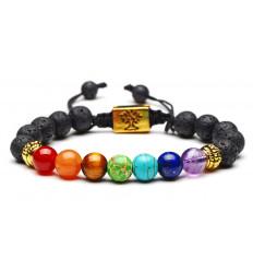 Bracelet 7 chakras et pierre de lave - Symbole Arbre de vie. Livraison offerte !!!