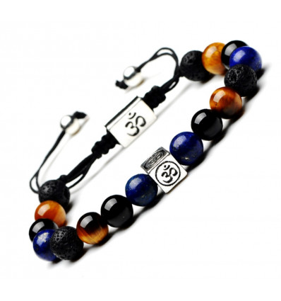 Bracelet symbol ôm - tiger Eye, lapis lazuli, onyx and lava stone. Special meditation !
