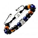 Bracelet symbole ôm - Oeil de tigre, lapis lazuli, onyx et pierre de lave. Spécial méditation !