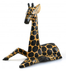 Decoration giraffe statue wood decor child room safari savannah.