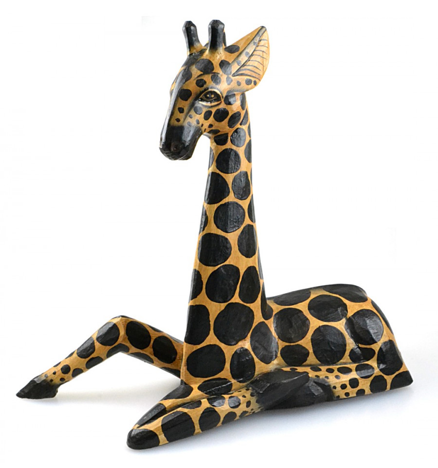 d coration girafe statue bois d co chambre enfant safari savane. Black Bedroom Furniture Sets. Home Design Ideas
