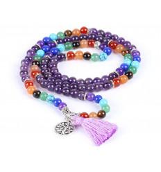 Bracelet multirang 7 chakras - Mala tibetan Amethyst and semiprecious stones + symbol tree of life