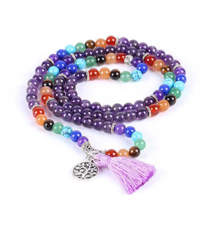 Bracelet bouddhiste 7 chakras mala tib tain en am thyste for Decoration murale arbre de vie