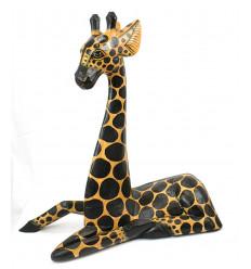 Grande statue girafe décoration ethnique savane animaux afrique.